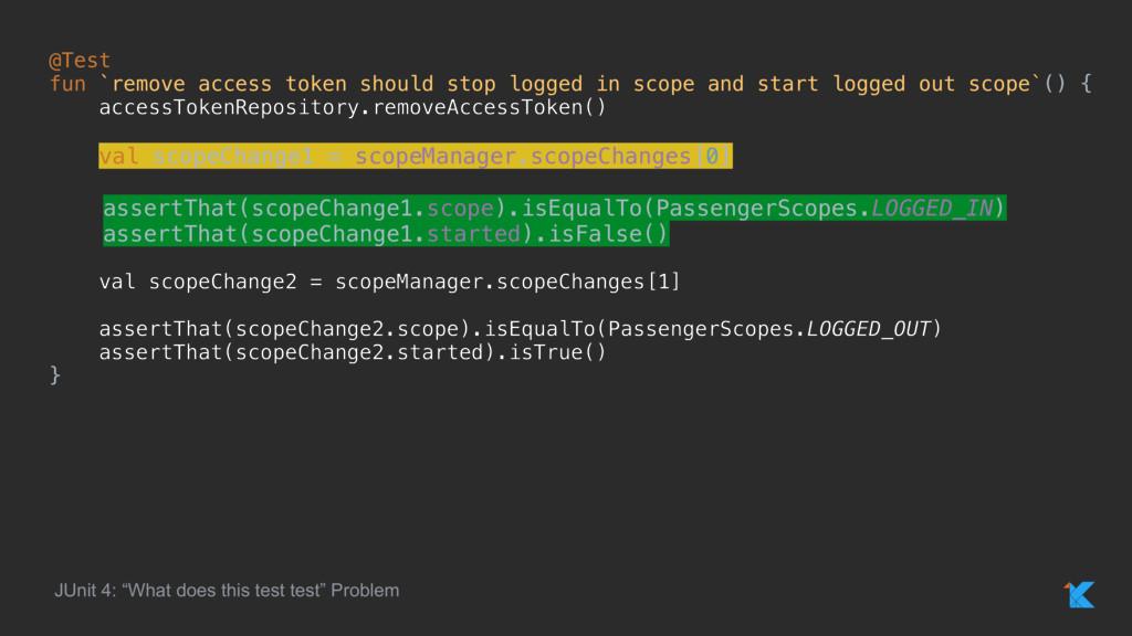 @Test fun `remove access token should stop logg...