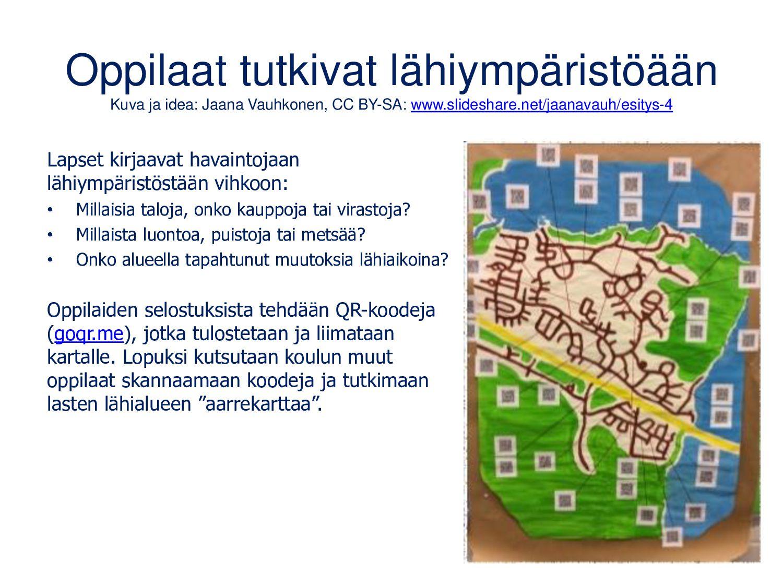Suomitietoa QR-koodeilla Idea Lahden Steiner-ko...