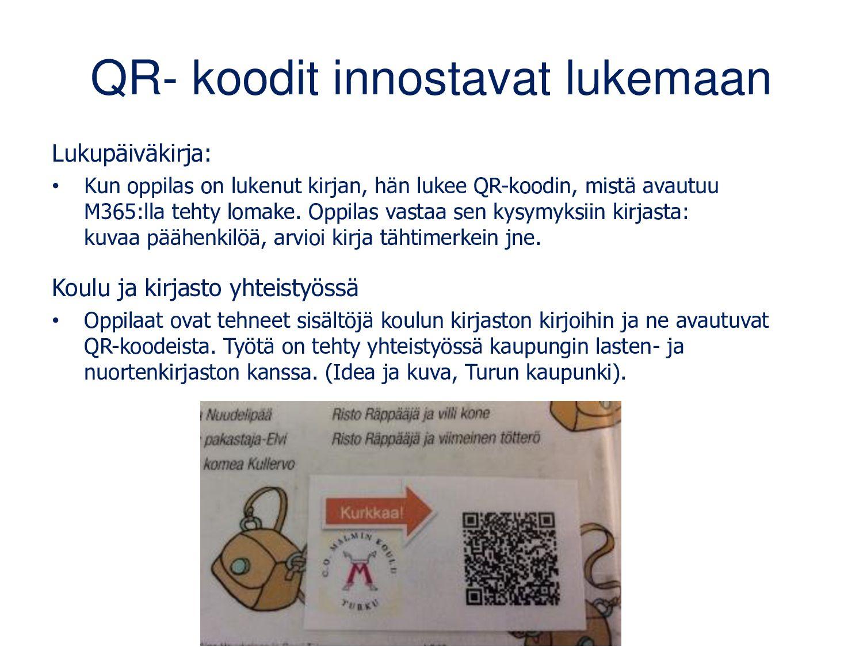 QR-koodit koulurakennuksessa • Ohjeita kopiokon...