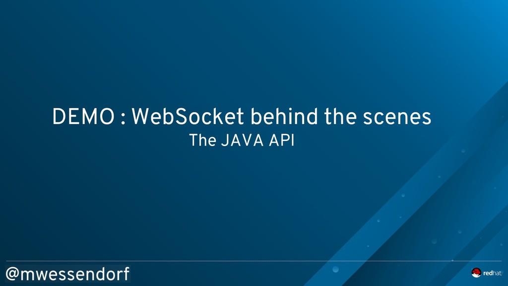 DEMO : WebSocket behind the scenes The JAVA API