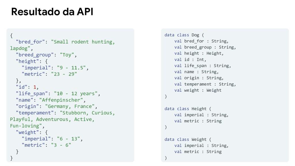 """Resultado da API { """"bred_for"""": """"Small rodent hu..."""