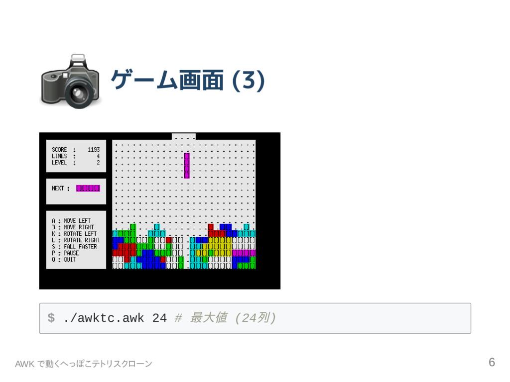 ゲーム画面 (3) $ . / a w k t c . a w k 2 4 # 最大値 ( 2...