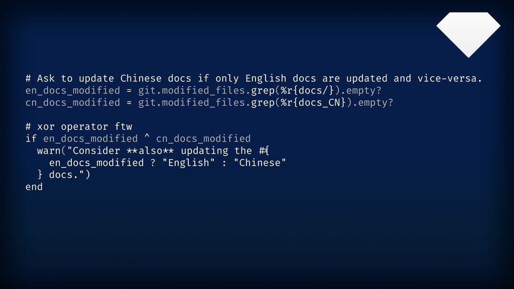 # Ask to update Chinese docs if only English do...