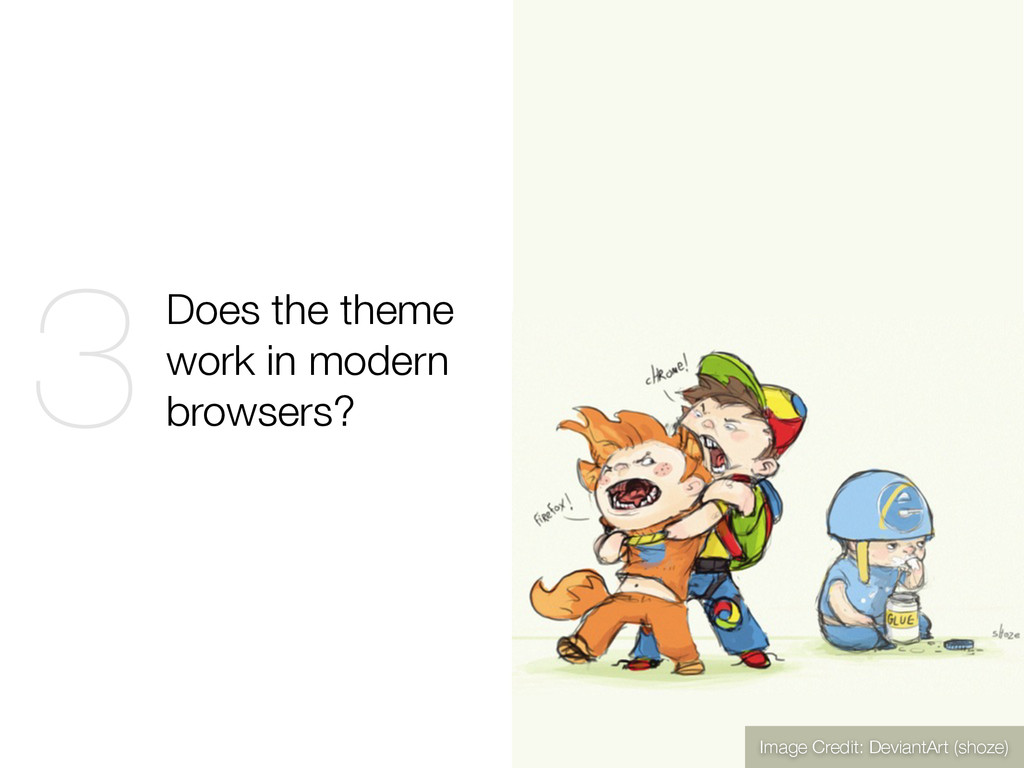 Does the theme work in modern browsers? 3 Image...