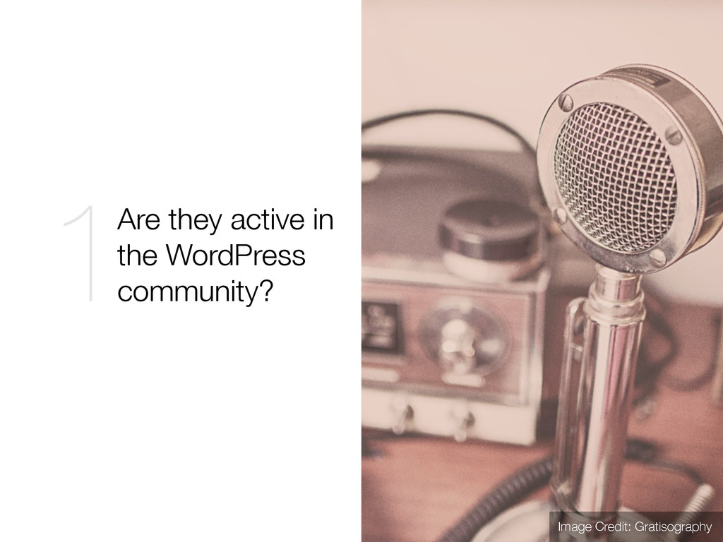 Are they active in the WordPress community? 1 I...