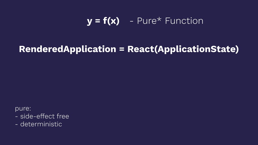 y = f(x) RenderedApplication = React(Applicatio...