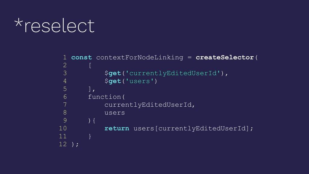 *reselect 1 const contextForNodeLinking = creat...