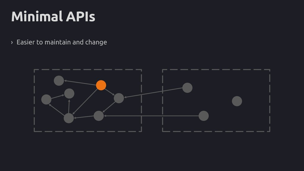 Minimal APIs › Easier to maintain and change