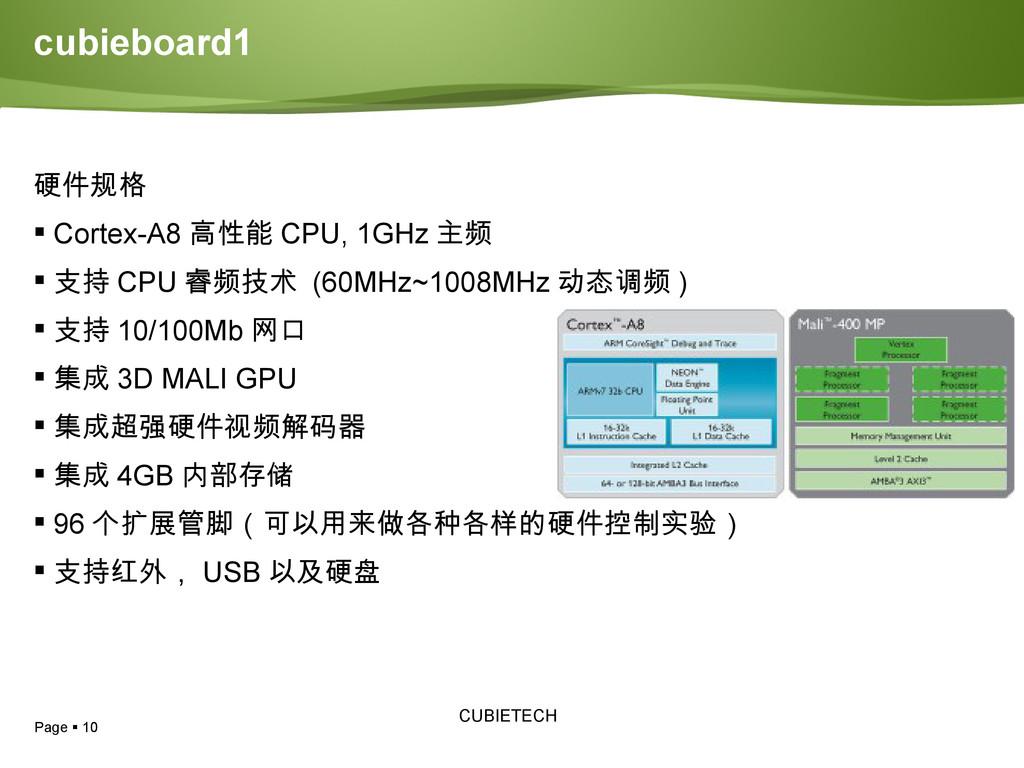 Page  10 CUBIETECH cubieboard1 硬件规格  Cortex-A...