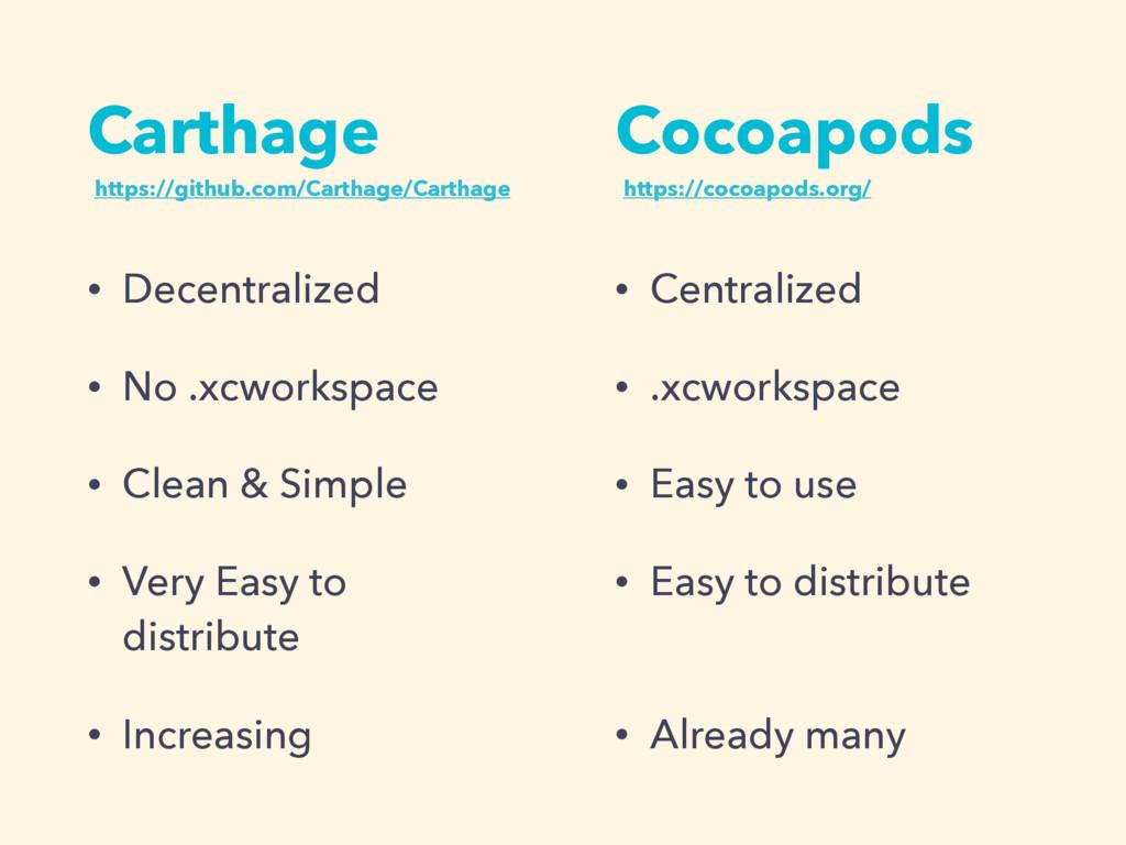 Carthage • Decentralized • No .xcworkspace • Cl...