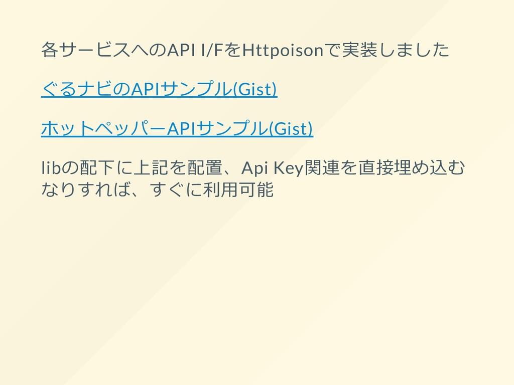 各サービスへのAPI I/FをHttpoisonで実装しました ぐるナビのAPIサンプル(Gi...