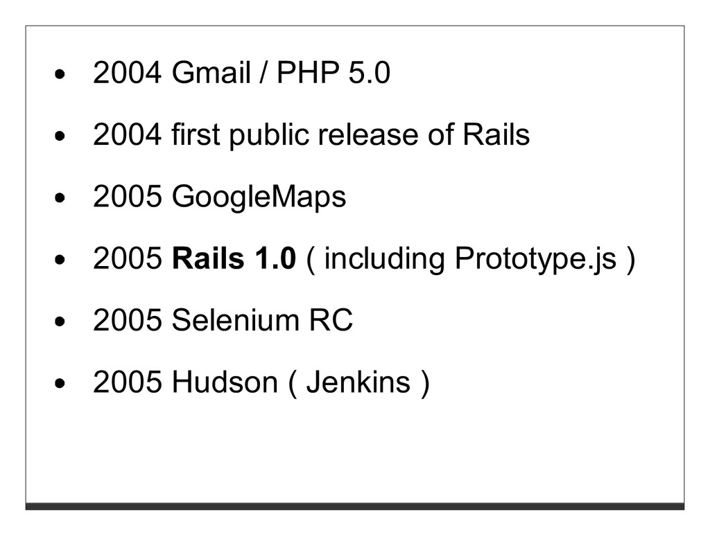 2004 Gmail / PHP 5.0 2004 first public release ...