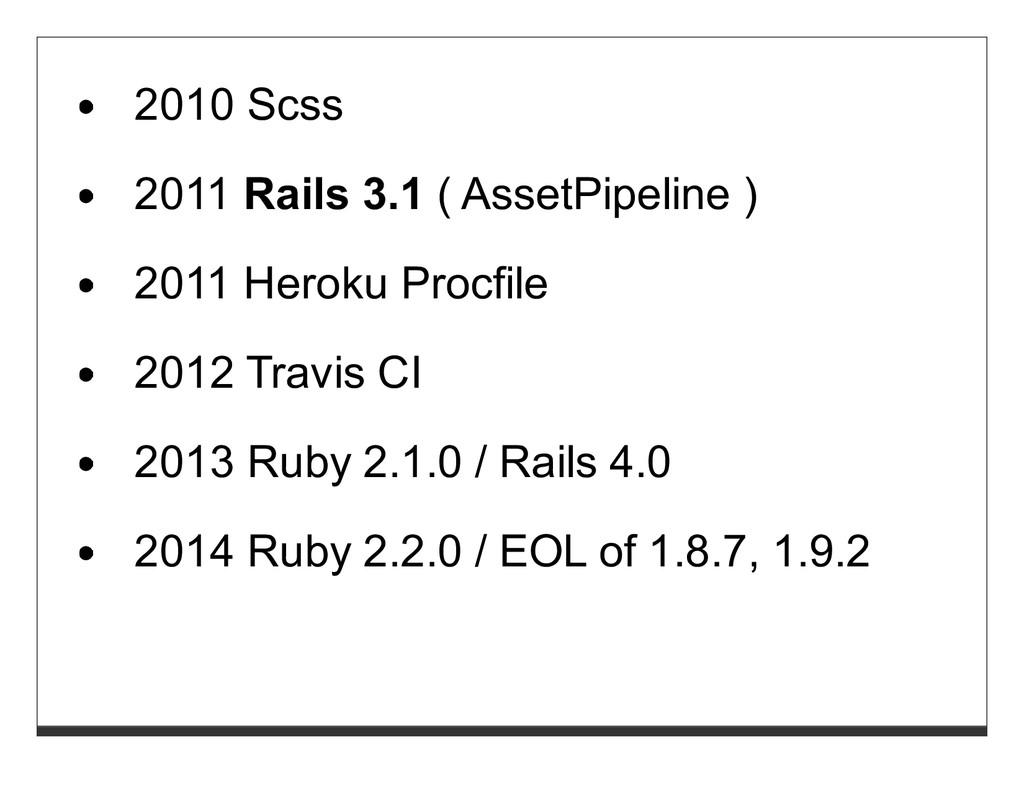 2010 Scss 2011 Rails 3.1 ( AssetPipeline ) 2011...