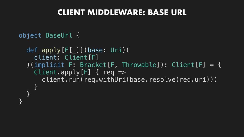CLIENT MIDDLEWARE: BASE URL object BaseUrl { de...