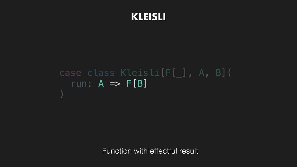 KLEISLI case class Kleisli[F[_], A, B]( run: ) ...