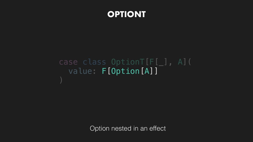 OPTIONT Option nested in an effect case class O...