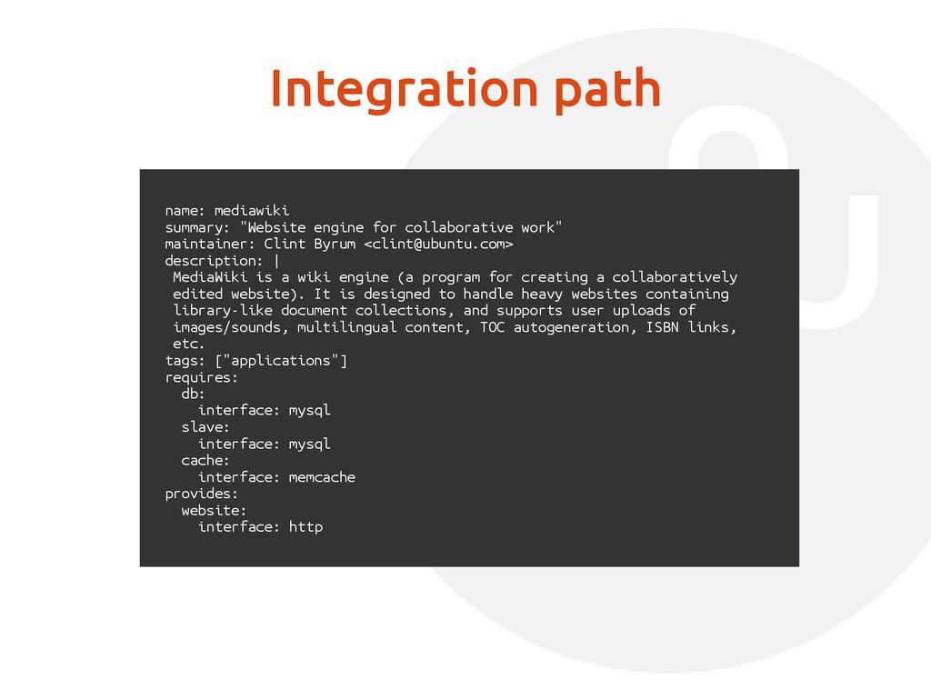 "Integration path name: mediawiki summary: ""Webs..."