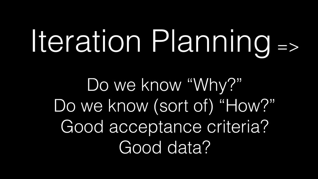 """Iteration Planning =>   Do we know """"Why?""""   Do ..."""