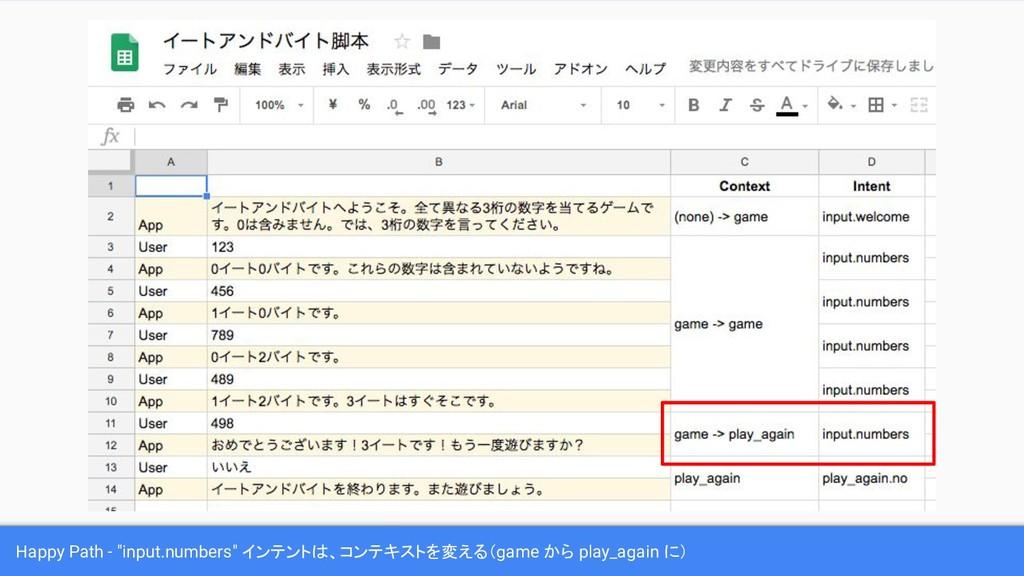 "Happy Path - ""input.numbers"" インテントは、コンテキストを変える(..."