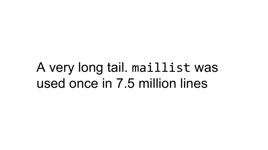 A very long tail. maillist was used once in 7.5...