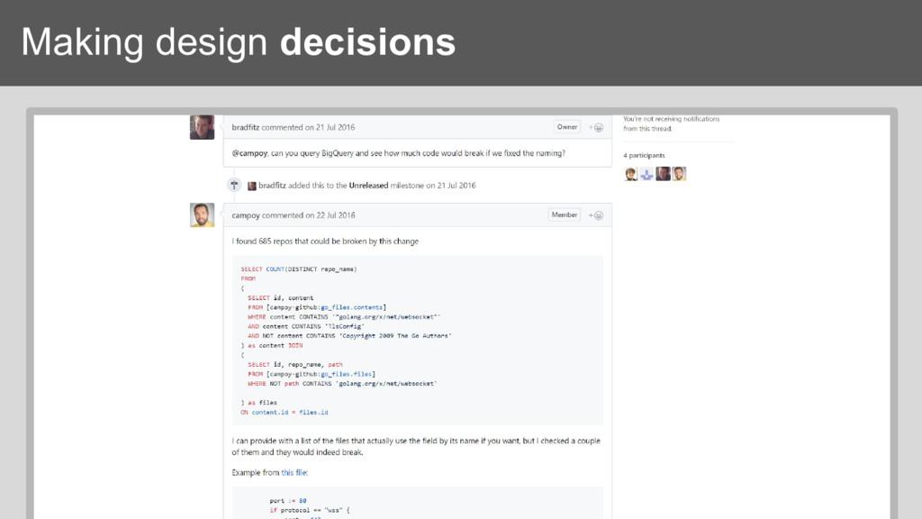 Making design decisions