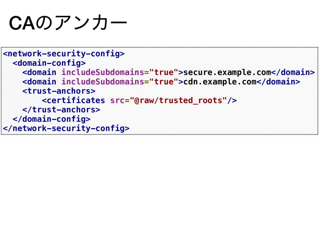 CAͷΞϯΧʔ <network-security-config> <domain-confi...