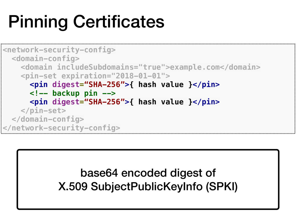 Pinning Certificates <network-security-config> <...