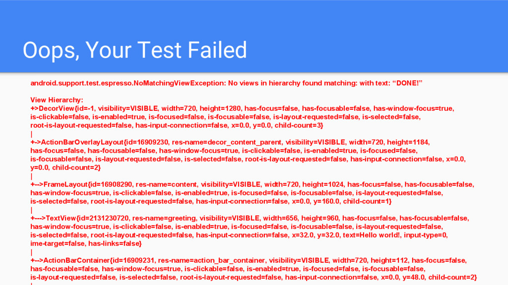 Oops, Your Test Failed android.support.test.esp...