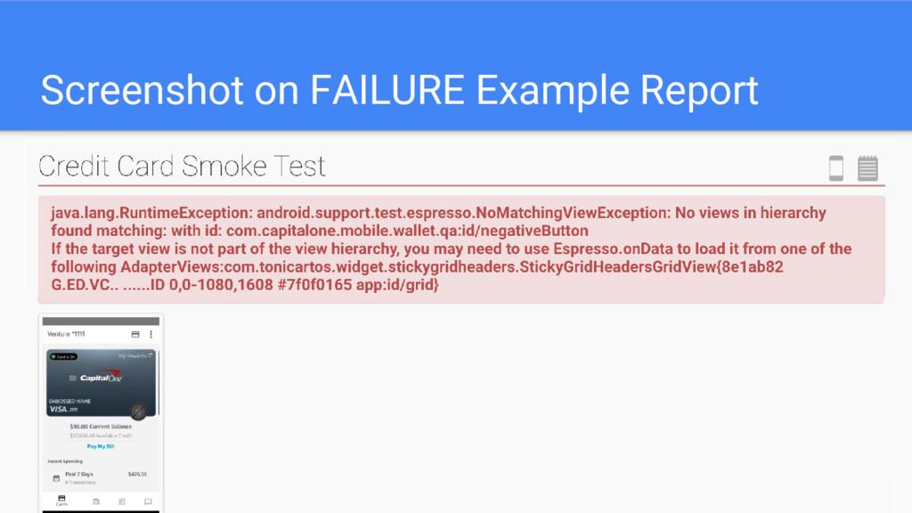 Screenshot on FAILURE Example Report