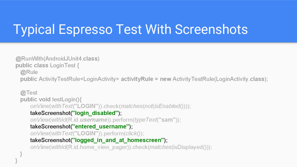 Typical Espresso Test With Screenshots @RunWith...