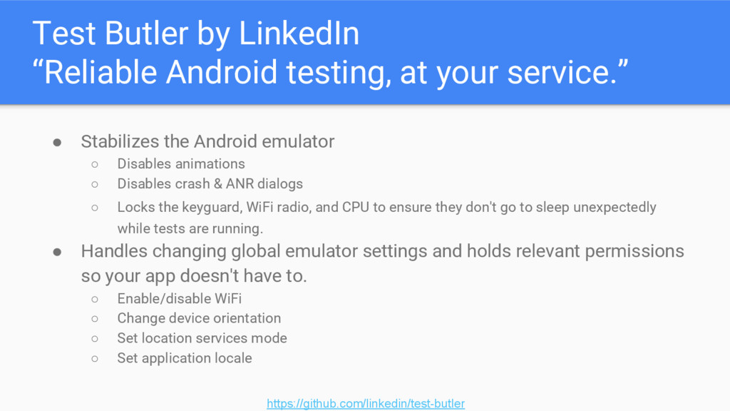 """Test Butler by LinkedIn """"Reliable Android testi..."""