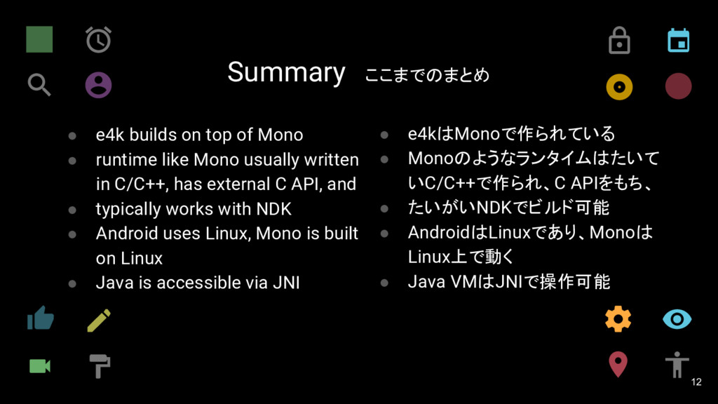 Summary ここまでのまとめ 12 ● e4k builds on top of Mono...