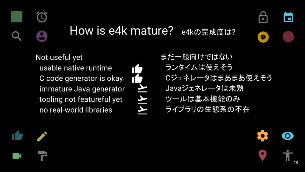 How is e4k mature? e4kの完成度は? 18 Not useful yet ...
