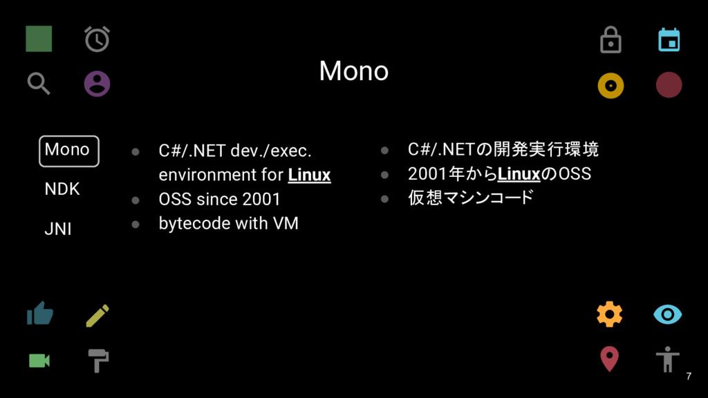 Mono 7 Mono NDK JNI ● C#/.NET dev./exec. enviro...
