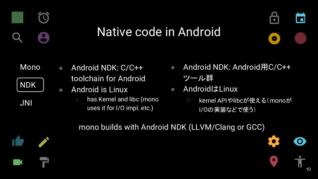 Native code in Android 10 Mono NDK JNI ● Androi...