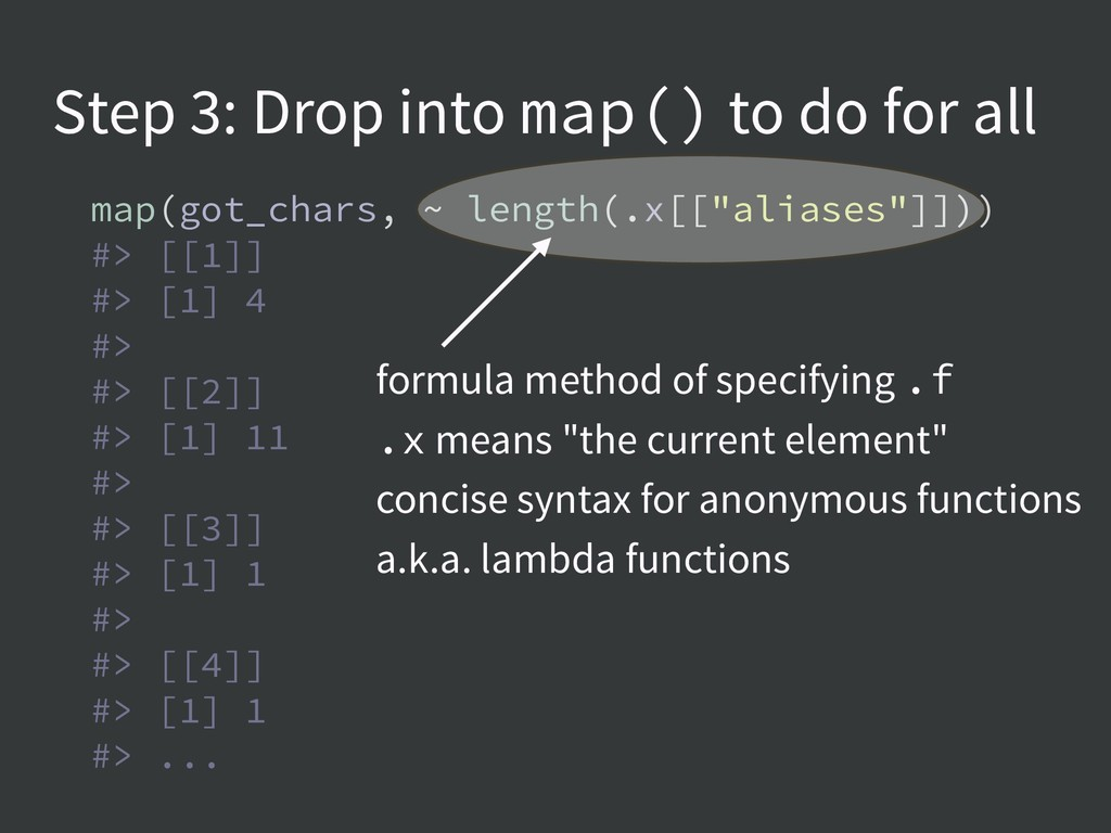 Step 3: Drop into map() to do for all map(got_c...