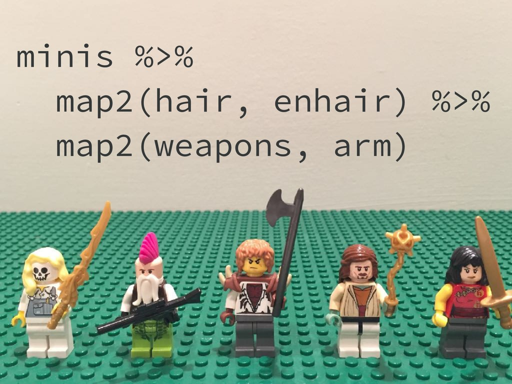 minis %>% map2(hair, enhair) %>% map2(weapons, ...