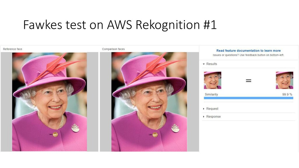Fawkes test on AWS Rekognition #1