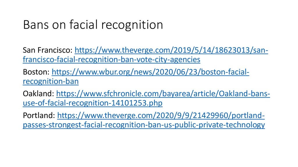 Bans on facial recognition San Francisco: https...
