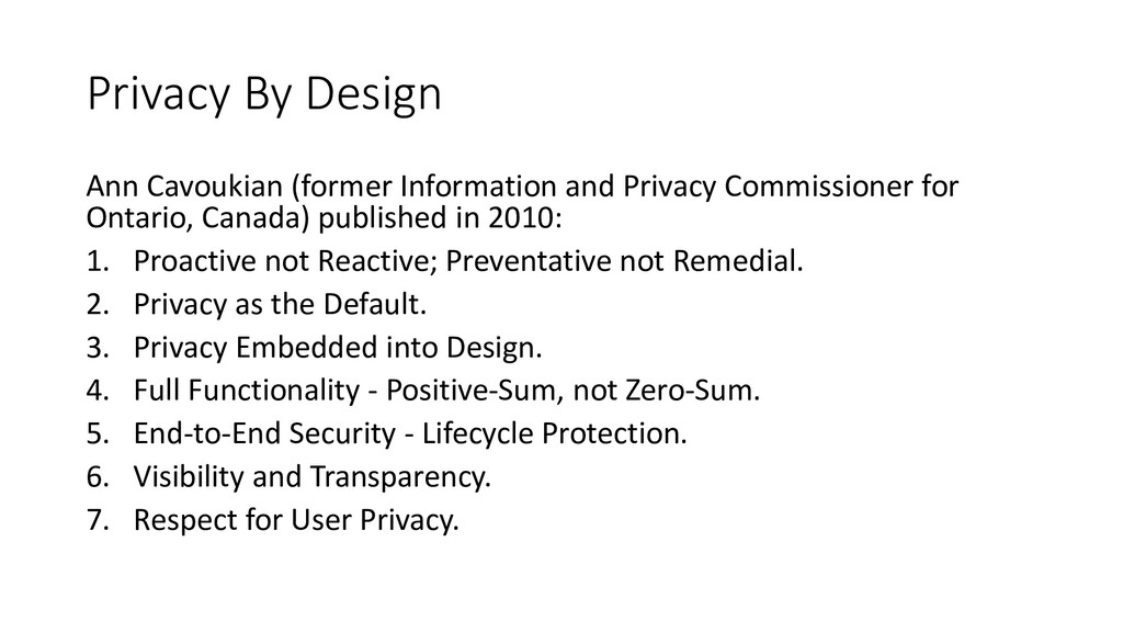 Privacy By Design Ann Cavoukian (former Informa...