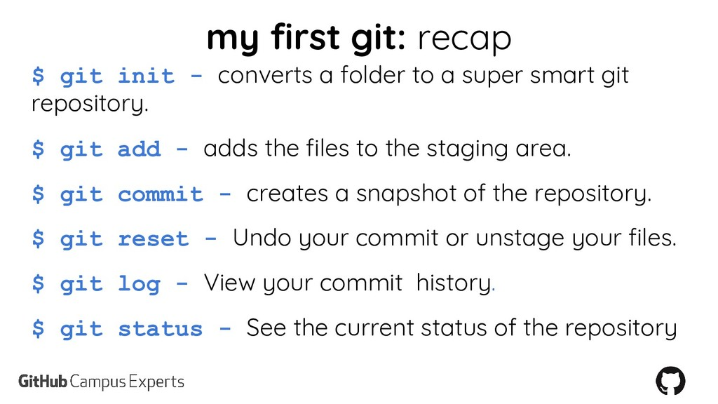 my first git: recap $ git init - converts a fol...