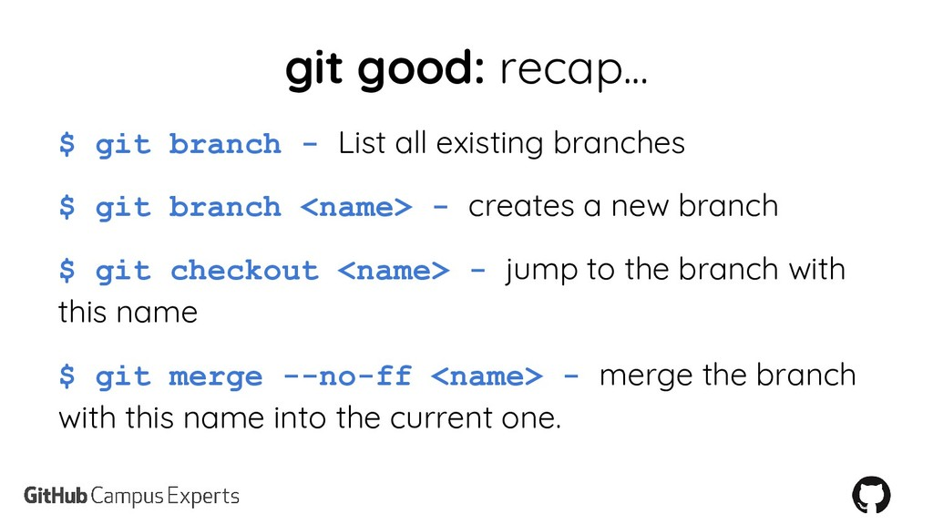 git good: recap... $ git branch - List all exis...