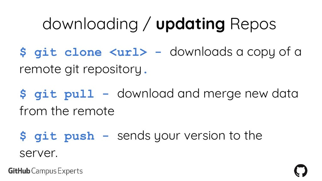 downloading / updating Repos $ git clone <url> ...