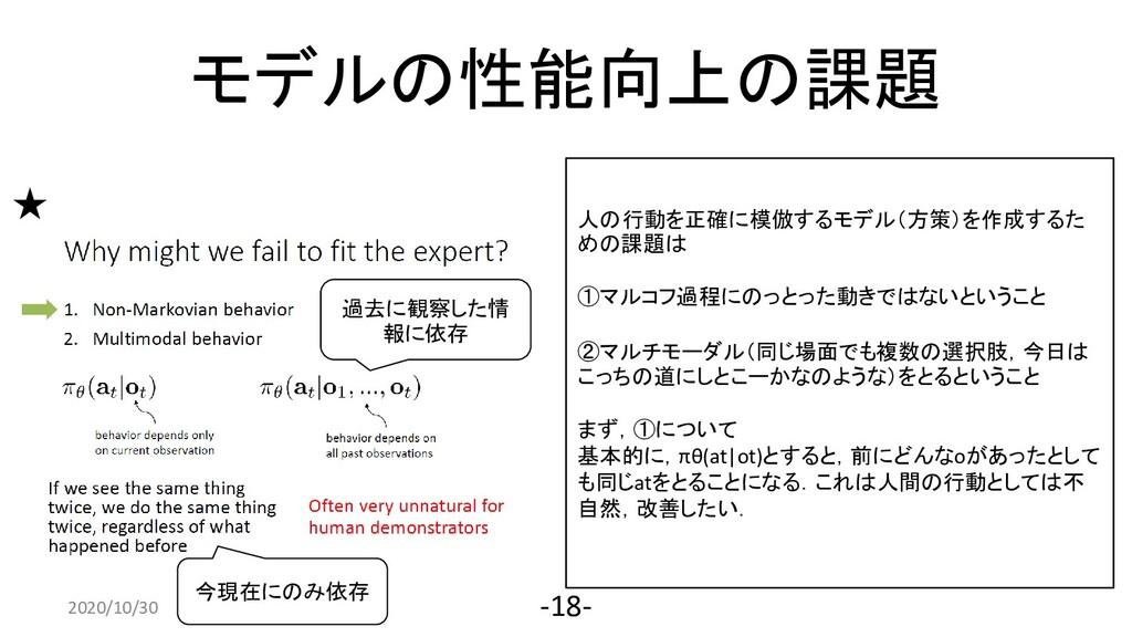 モデルの性能向上の課題 2020/4/10 -18- 人の行動を正確に模倣するモデル(方策)を...