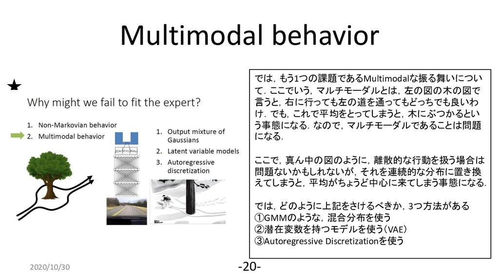 Multimodal behavior 2020/4/10 -20- では,もう1つの課題であ...