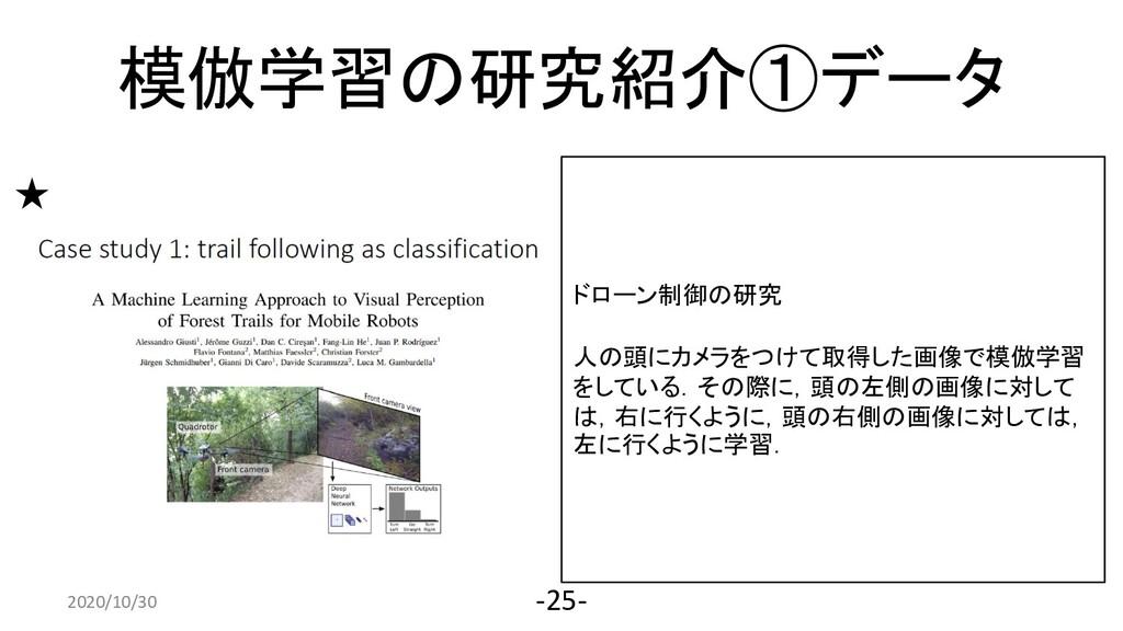 2020/4/10 -25- ドローン制御の研究 人の頭にカメラをつけて取得した画像で模倣学習...