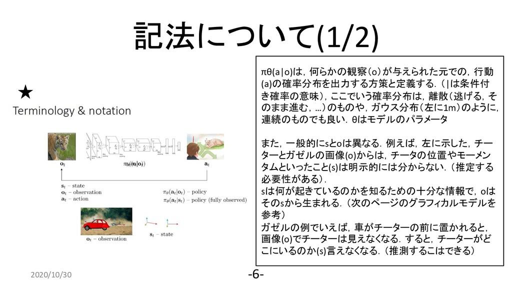 記法について(1/2) 2020/4/10 -6- πθ(a o)は,何らかの観察(o)が与え...