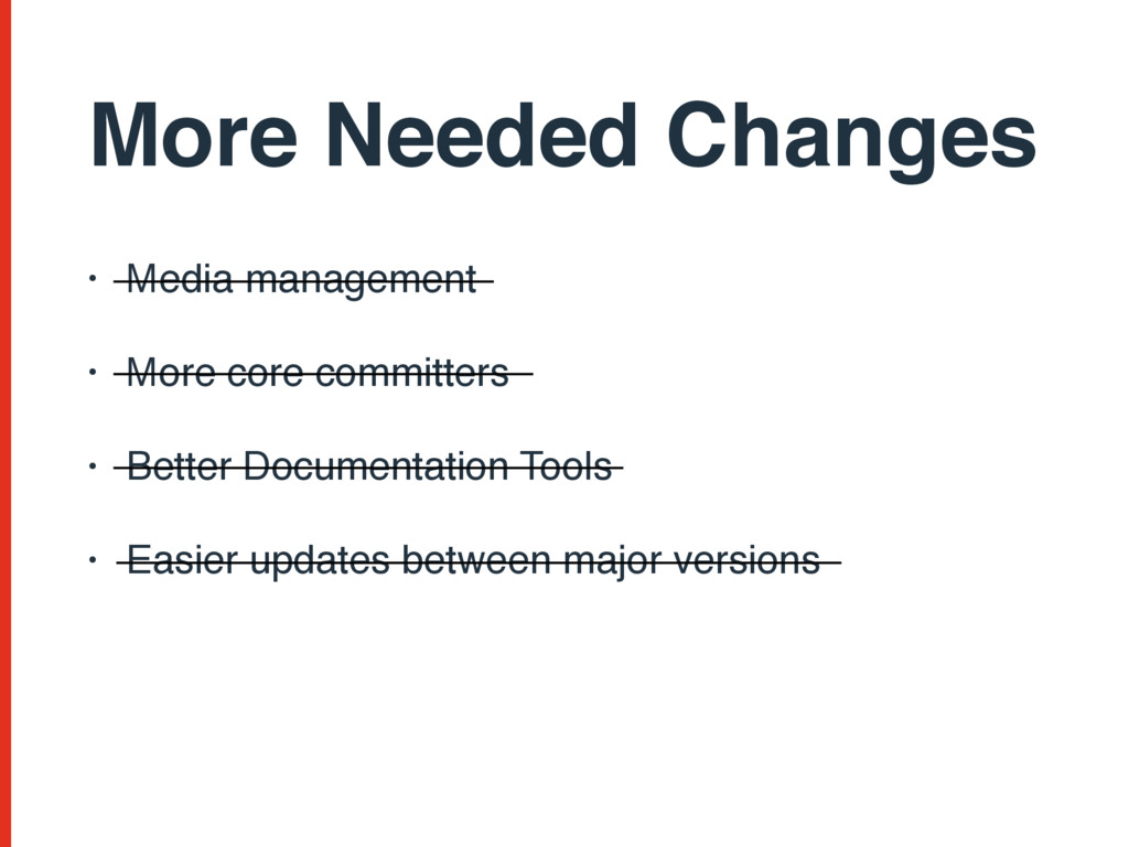 More Needed Changes • Media management • More c...