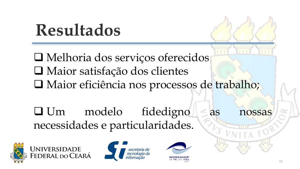 Resultados  Melhoria dos serviços oferecidos ...
