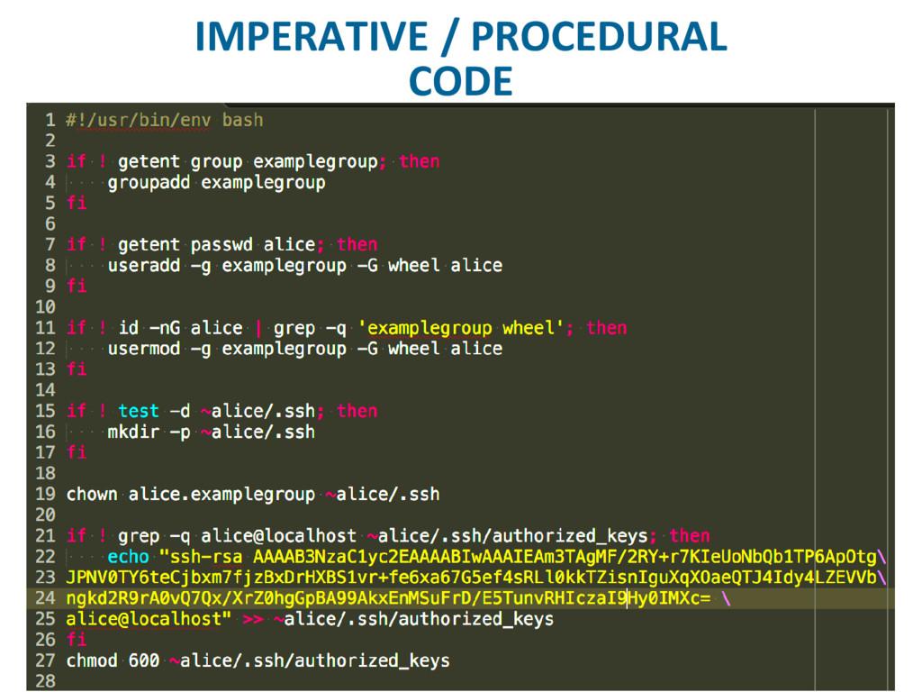 IMPERATIVE / PROCEDURAL CODE